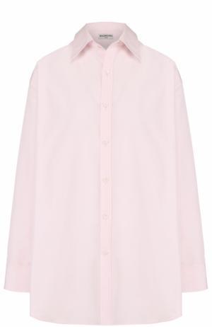 Хлопковая блуза свободного кроя Balenciaga. Цвет: розовый