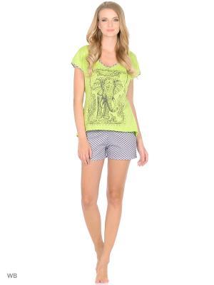 Костюм домашний (футболка, шорты) HomeLike. Цвет: салатовый