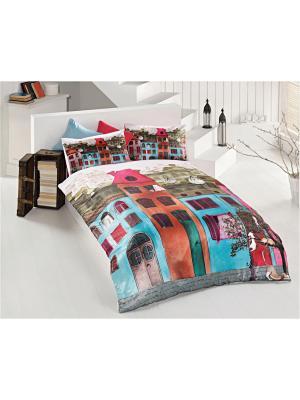 Комплект постельного белья COLOURFUL STREET 3D ранфорс, 145ТС, евро ISSIMO Home. Цвет: розовый