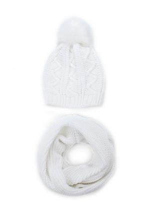 Комплект снуд и шапка Fete. Цвет: белый