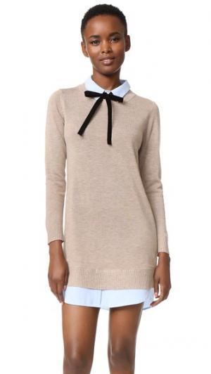 Комбинированное платье-рубашка ENGLISH FACTORY. Цвет: серо-коричневый/оксфордский синий