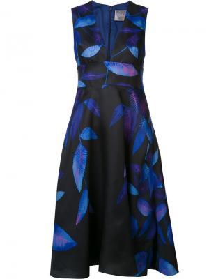 Расклешенное платье с глубоким вырезом Lela Rose. Цвет: синий