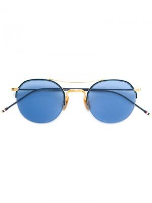 Солнцезащитные очки в круглой оправе Thom Browne. Цвет: синий