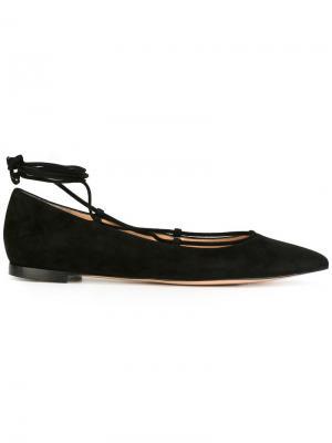 Балетки на шнуровке Gianvito Rossi. Цвет: чёрный