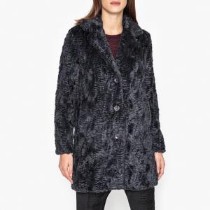 Пальто из ткани с меховым эффектом VRILLE COAT HARTFORD. Цвет: темно-синий