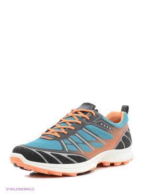 Полуботинки спортивные ECCO. Цвет: черный, голубой, оранжевый
