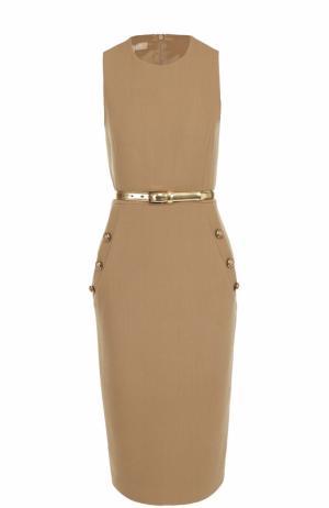 Приталенное платье без рукавов с поясом Michael Kors. Цвет: бежевый
