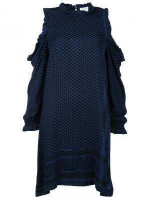 Платье с вырезами на плечах Cecilie Copenhagen. Цвет: синий
