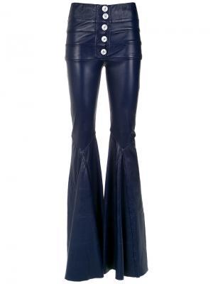 Leather flared trousers Andrea Bogosian. Цвет: синий