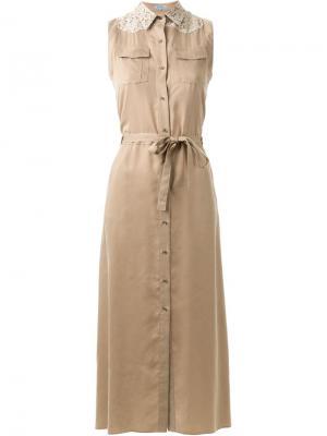 Платье-рубашка без рукавов Guild Prime. Цвет: коричневый