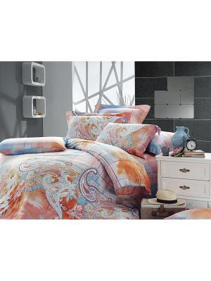 Комплект постельного белья ЕВРО сатин, рисунок 564 LA NOCHE DEL AMOR. Цвет: оранжевый