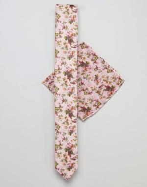 ASOS Галстук и платок для нагрудного кармана розового цвета с цветочным при. Цвет: розовый