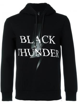 Толстовка Black Thunder с капюшоном Neil Barrett. Цвет: чёрный