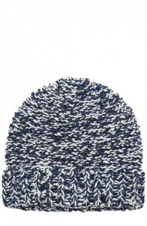 Вязаная шапка с отворотом 7II. Цвет: синий