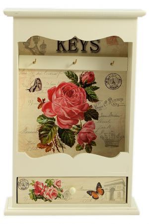 Ключница Прованс 20х6х30 см Русские подарки. Цвет: белый, розовый