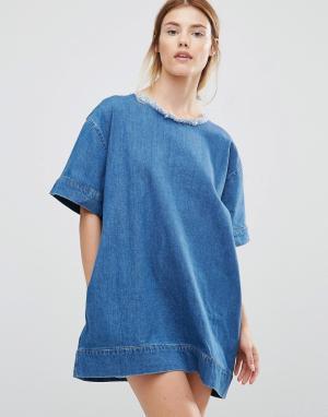 Waven Джинсовое чайное платье Marta. Цвет: синий