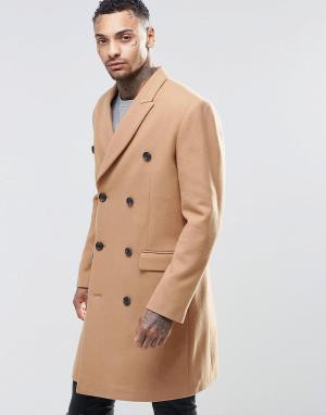 ASOS Полушерстяное двубортное пальто верблюжьего цвета. Цвет: рыжий