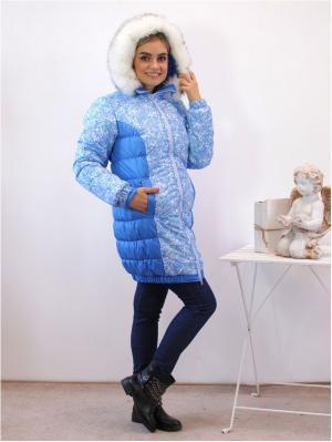 Куртка Адель. Цвет: голубой, белый