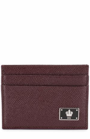 Кожаный футляр для кредитных карт Dolce & Gabbana. Цвет: бордовый