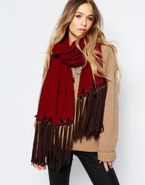 Blank Oversize-шарф с кисточками BL^NK. Цвет: красный