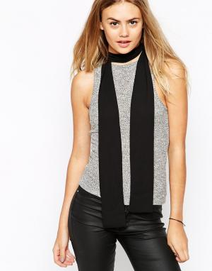 ASOS Длинный узкий шарф в стиле 70‑х. Цвет: черный