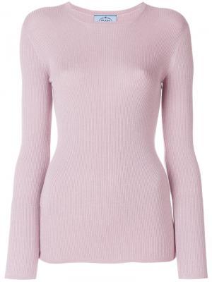 Свитер металлик в рубчик Prada. Цвет: розовый и фиолетовый