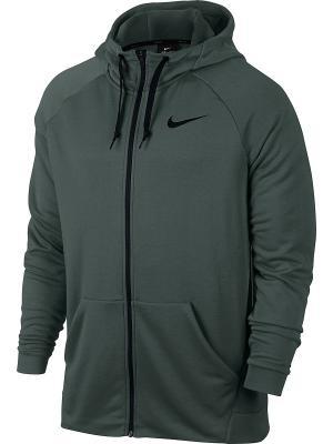 Толстовка M NK DRY HOODIE FZ FLEECE Nike. Цвет: зеленый