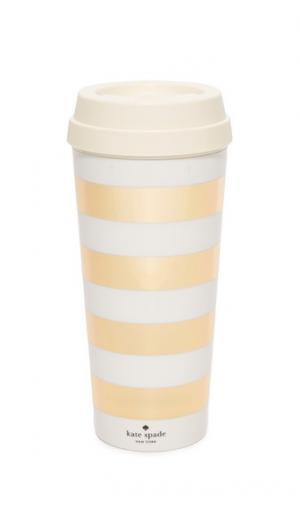 Термокружка в золотистую полоску Kate Spade New York. Цвет: золотистый/белый