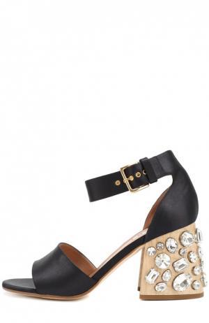 Атласные босоножки на каблуке с кристаллами Marni. Цвет: темно-синий