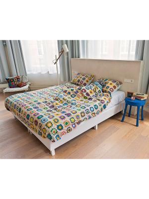 Комплект постельного белья Бабушка связала 200х220см SNURK. Цвет: бежевый, светло-желтый, зеленый