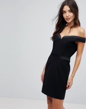 Forever Unique Платье мини с открытыми плечами. Цвет: черный