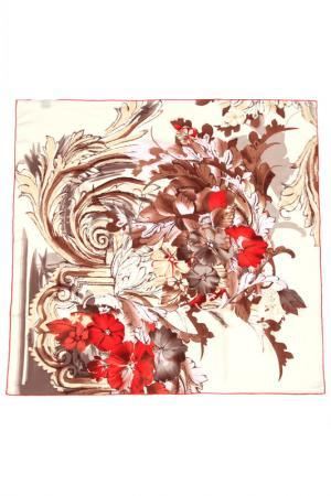 Платок F.FRANTELLI. Цвет: молочный, коричневый, красный