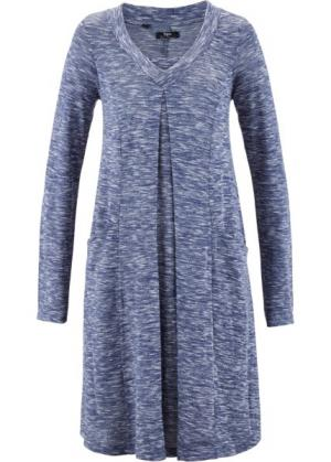 Платье с длинным рукавом (меланжевый индиго) bonprix. Цвет: меланжевый индиго