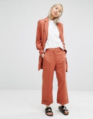 ADPT Укороченные брюки с широкими штанинами. Цвет: оранжевый