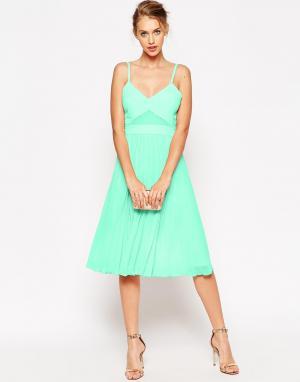 ASOS Платье-майка миди со складками и прозрачными вставками. Цвет: розовый