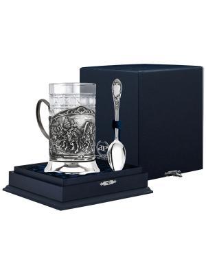Набор для чая Тройка (подстаканник посер+ стакан + серебряная ложка) футляр АргентА. Цвет: серебристый