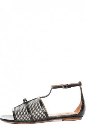 Кожаные сандалии с перфорацией Alaia. Цвет: черный