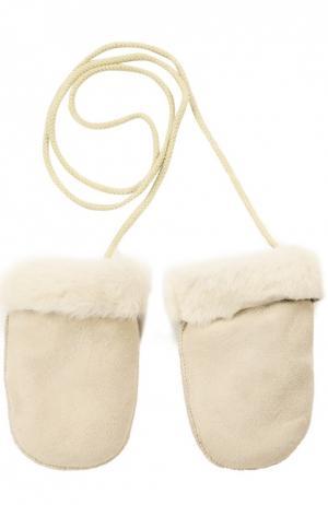 Кожаные варежки с отделкой мехом Petit Nord. Цвет: бежевый