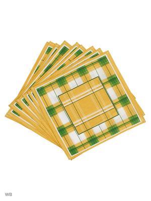 Набор платков носовых мужских Римейн. Цвет: желтый, зеленый, белый