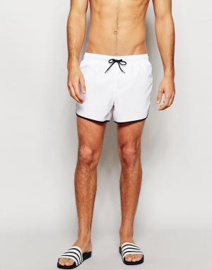 ASOS Белые короткие шорты для плавания. Цвет: белый