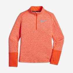 Беговая футболка с длинным рукавом для девочек школьного возраста  Dri-FIT Element Nike. Цвет: оранжевый