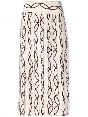 Плиссированная юбка Tory Burch. Цвет: телесный