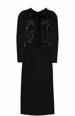 Приталенное платье-миди с рукавом-фонарик Elie Saab. Цвет: черный