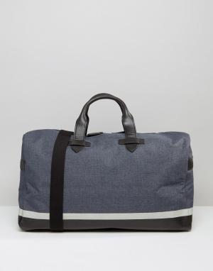 Racing Green Парусиновая сумка с отделкой из искусственной кожи. Цвет: синий