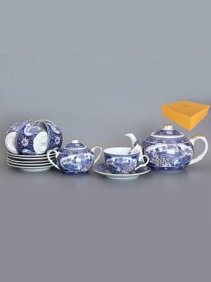 Чайный набор Павлин синий Elan Gallery. Цвет: синий, белый, золотистый