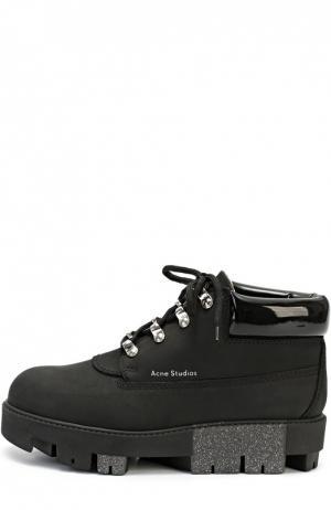 Ботинки из нубука на подошве с глиттером Acne Studios. Цвет: черный