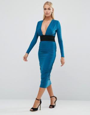 Hedonia Платье-футляр с длинными рукавами и контрастным поясом. Цвет: синий