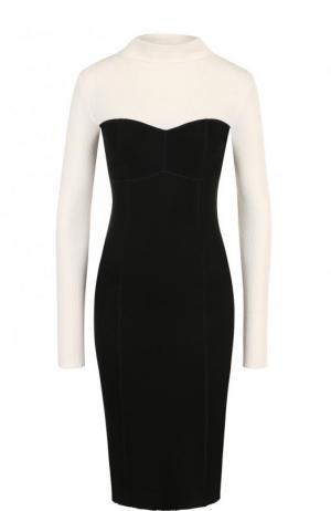 Приталенное платье-миди с контрастным лифом и длинным рукавом Theory. Цвет: черно-белый