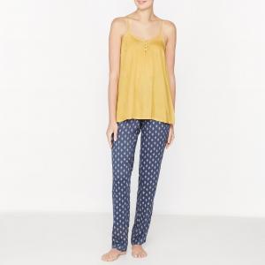 Пижама с топом на тонких бретелях La Redoute Collections. Цвет: желтый/ синий