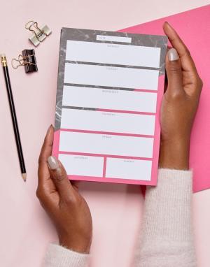 OHH DEER Розовый настольный блокнот формата A5 с мраморным принтом. Цвет: мульти